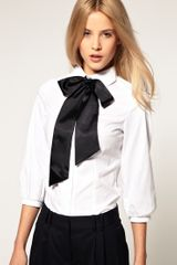 ASOS Collection Asos Cotton Shirt with Contrast Satin Bow