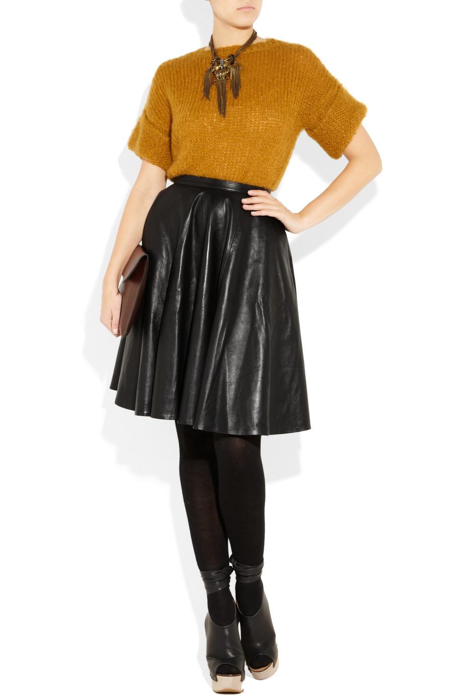 bergin leather circle skirt in black lyst