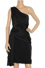 Marchesa Embellished Oneshoulder Satinchiffon Dress in Black - Lyst