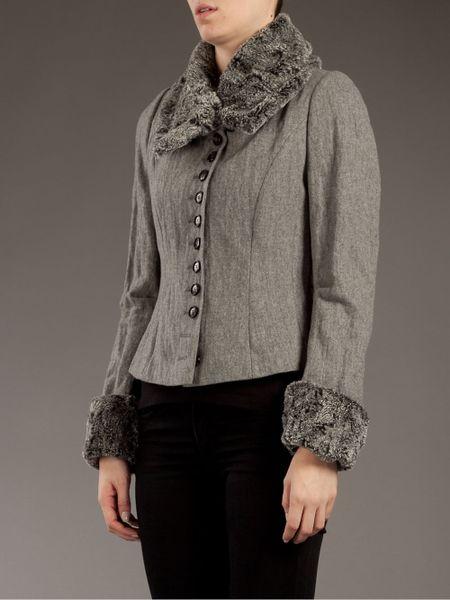Pauw Faux Fur Collar Jacket In Gray Grey Lyst