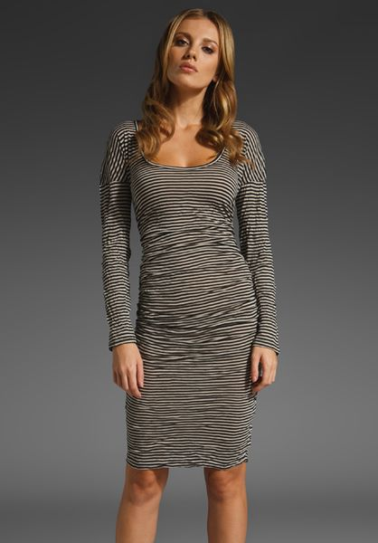 Plenty By Tracy Reese Ruched Striped T Dress in Black/rye in Black (black & rye) - Lyst