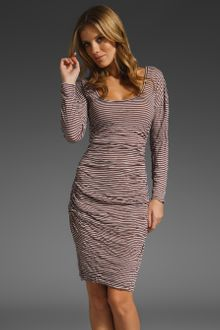 Plenty By Tracy Reese Ruched Striped T Dress in Mulberry/silver - Lyst