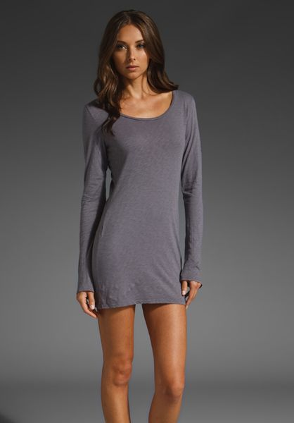 Velvet Monroe Cotton Slub Dress in Gray (silver dollar) - Lyst