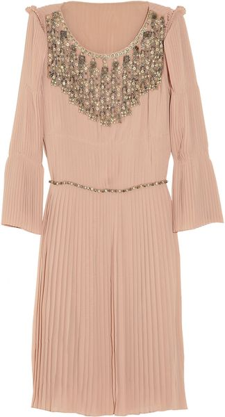 Alberta Ferretti Embellished Pleated Crepe Dress - Lyst