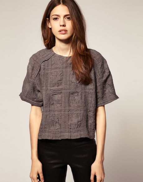 Asos Collection Asos Crinkle Check Shell Top in Gray (grey) - Lyst