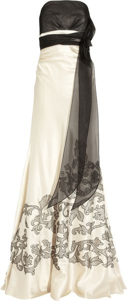 Kay Unger Embroidered Silk-satin Gown - Lyst