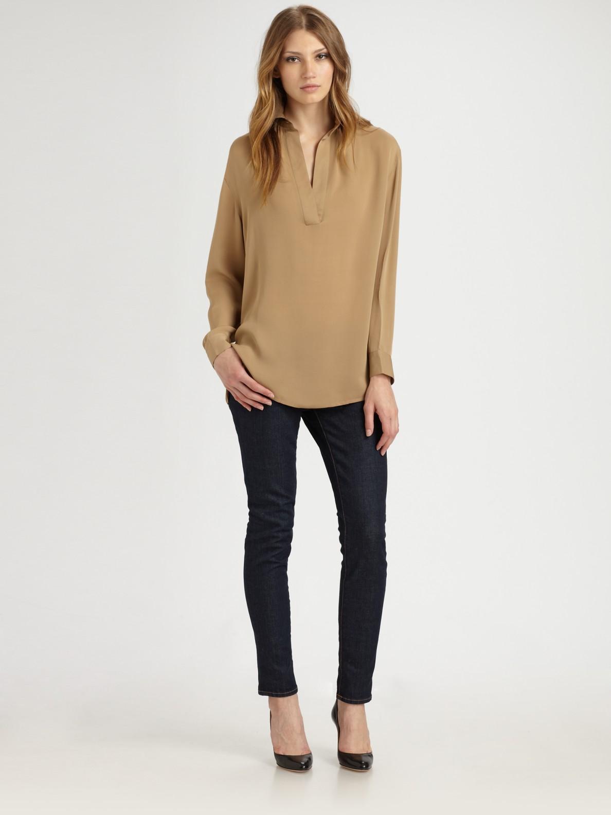 michael michael kors silk blouse in brown black lyst. Black Bedroom Furniture Sets. Home Design Ideas