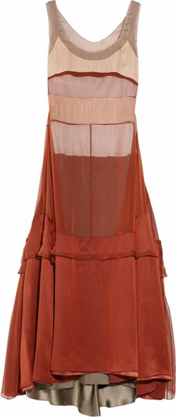 Narciso Rodriguez Silkmousseline Dress in Brown (copper) - Lyst