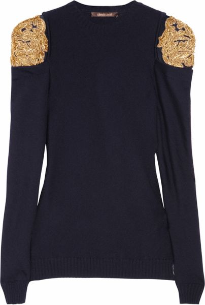 Roberto Cavalli Embellished Wool Sweater in Blue (navy) - Lyst