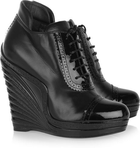 Yves Saint Laurent Leather and Patentleather Wedge Ankle Boots in Black - Lyst