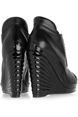 Saint Laurent Leather and Patentleather Wedge Ankle Boots in Black - Lyst