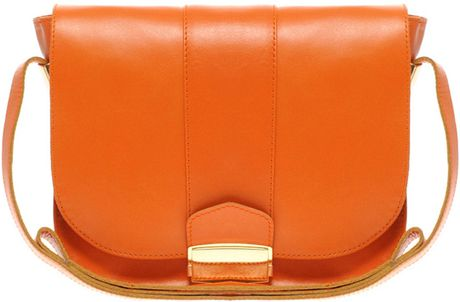 Asos Collection Asos Leather Flat Lock Shoulder Bag in Orange - Lyst