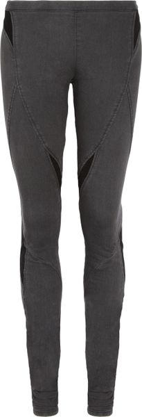 Helmut Lang Paneled Stretchdenim Leggings in Gray - Lyst