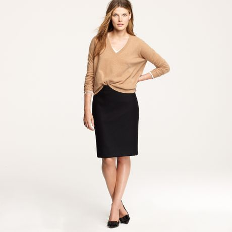 j crew no 2 pencil skirt in serge wool in black lyst