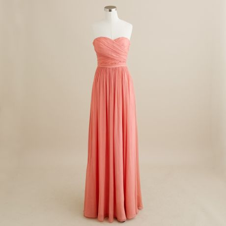 Chiffon Dress on Crew Arabelle Long Dress In Silk Chiffon In Pink  Bright Coral