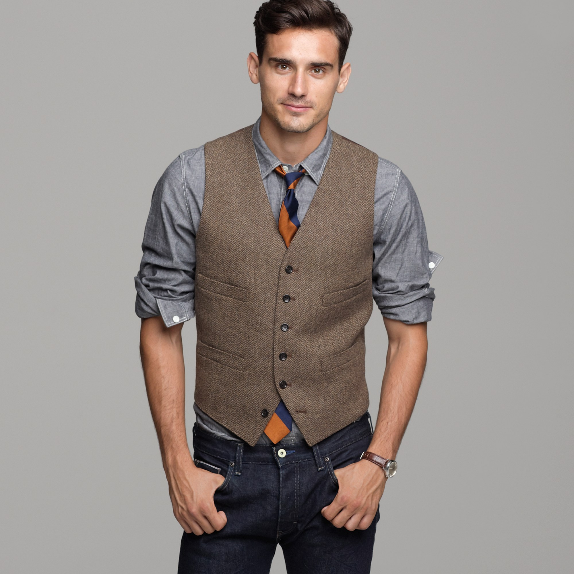 Harvest herringbone vest in brown for men lyst for J crew mens outfits