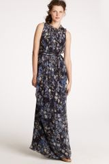J.Crew Winter Garden Long Dress in Silk Chiffon - Lyst
