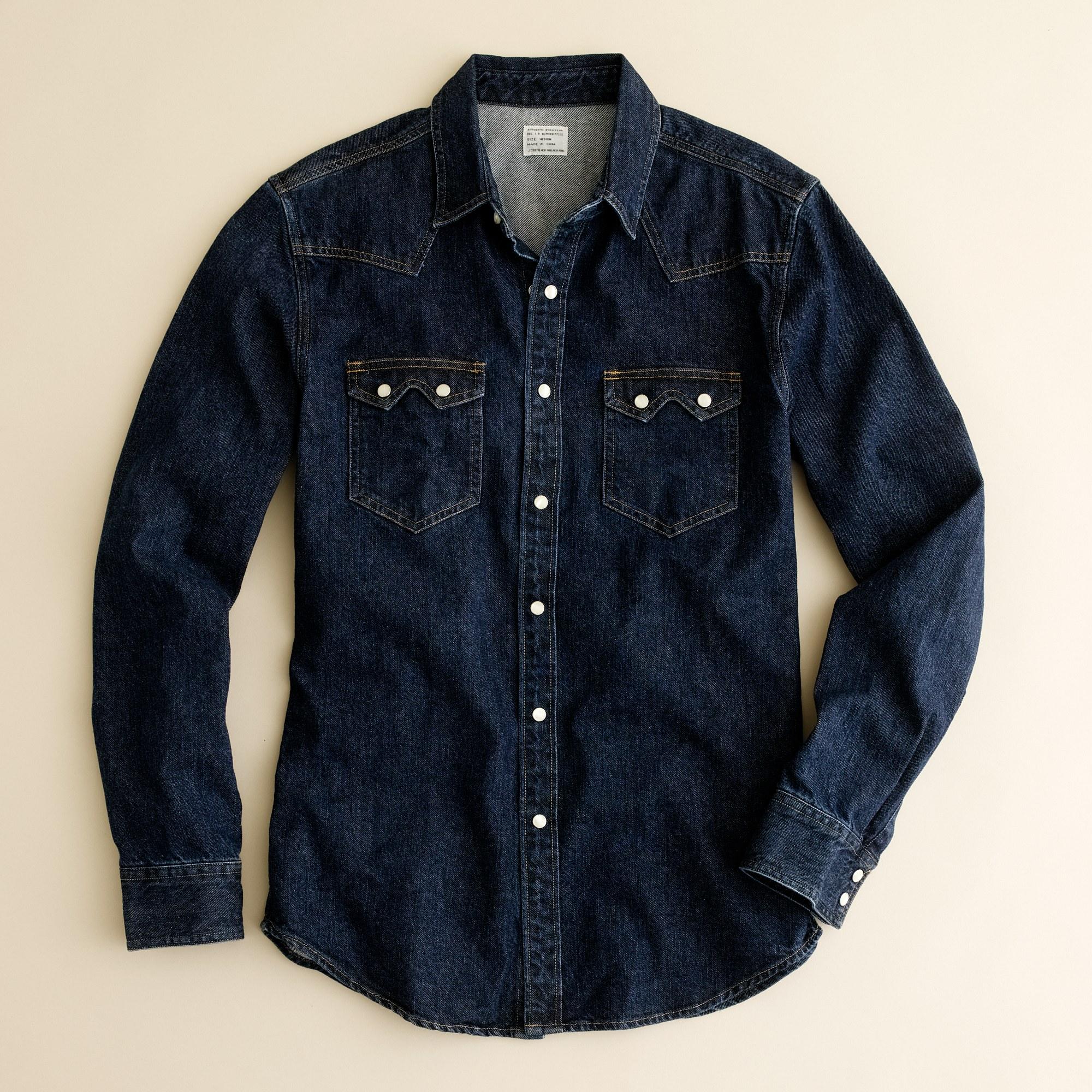 Indigo Denim Western Shirt In Blue For Men Indigo