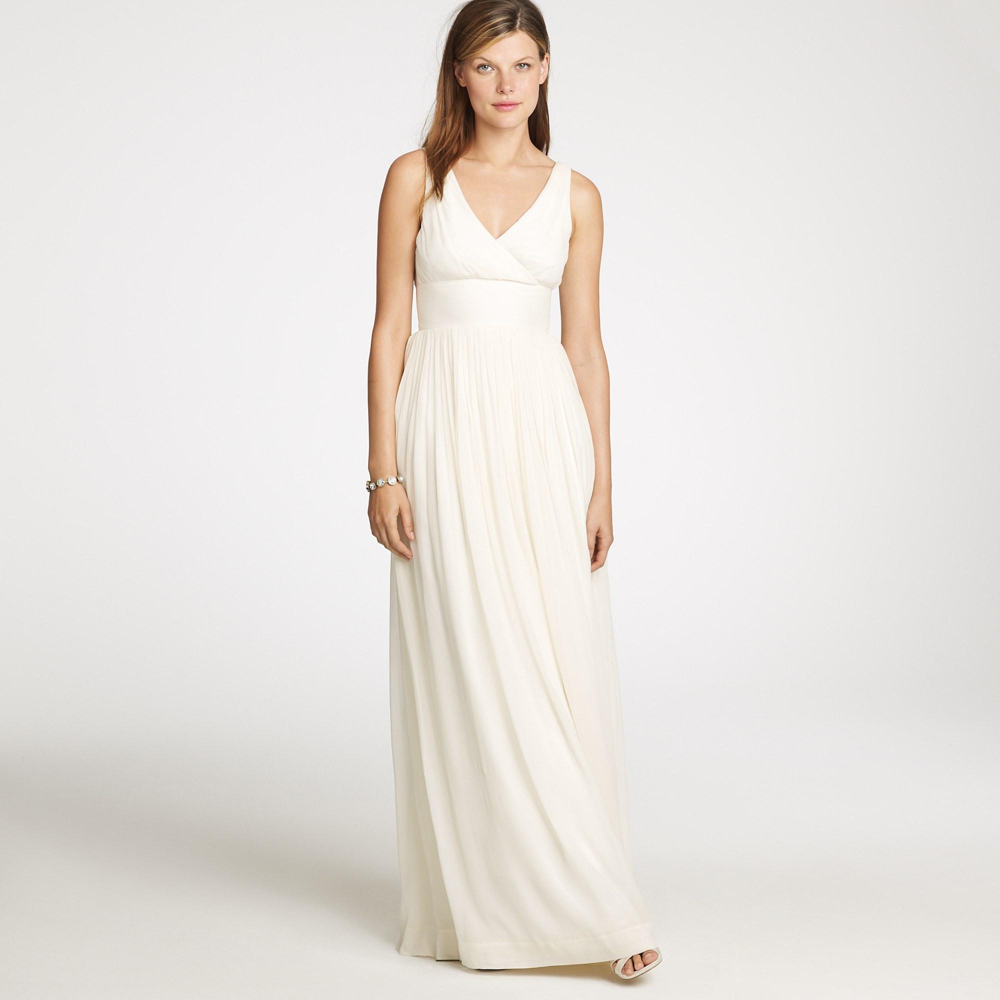 Jew sophia long dress in silk chiffon in white lyst gallery ombrellifo Choice Image