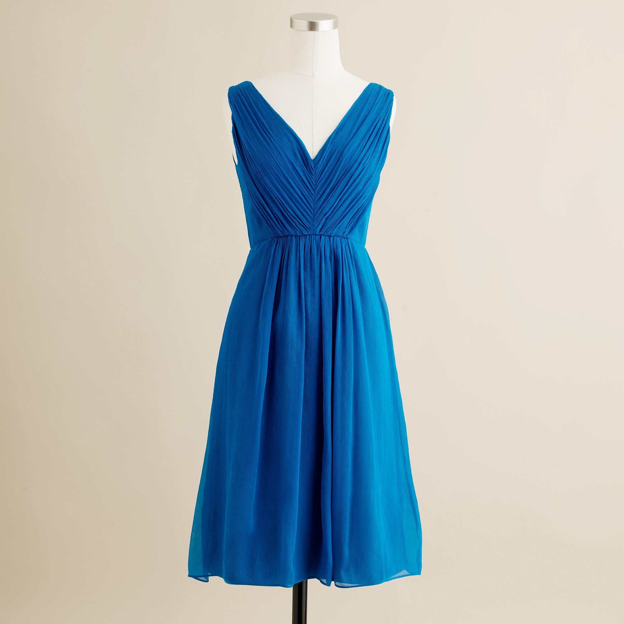 Louisa dress in silk chiffon in blue matisse blue for J crew short wedding dresses