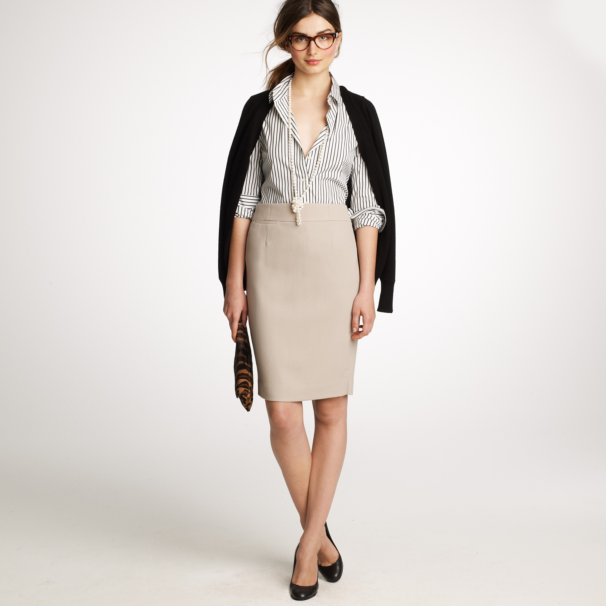 1a2163921f18 J.Crew Pencil Skirt in Wool Crepe in Natural - Lyst