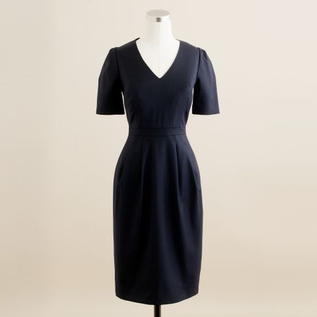 J.crew Memo Dress in Super 120s in Blue (navy) - Lyst