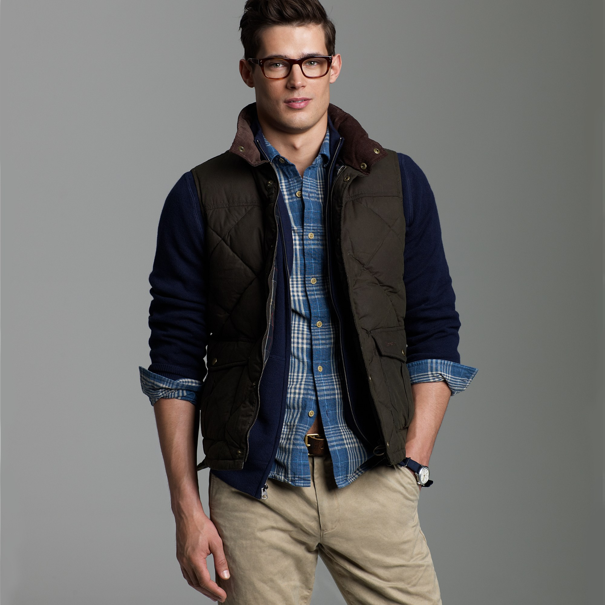 J Crew Barbour 174 Down Waxed Quilted Gilet In Green For Men