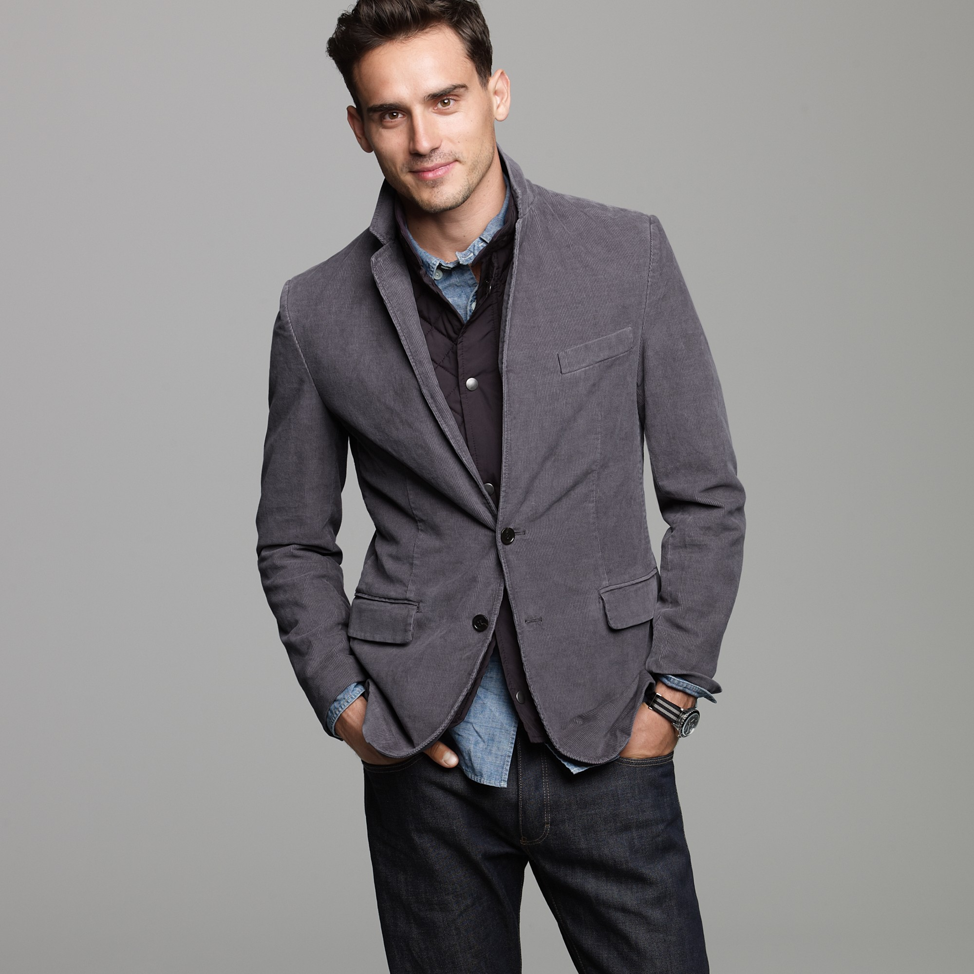 J.crew Corduroy 14-wale Sportcoat in Ludlow Fit in Gray for Men | Lyst