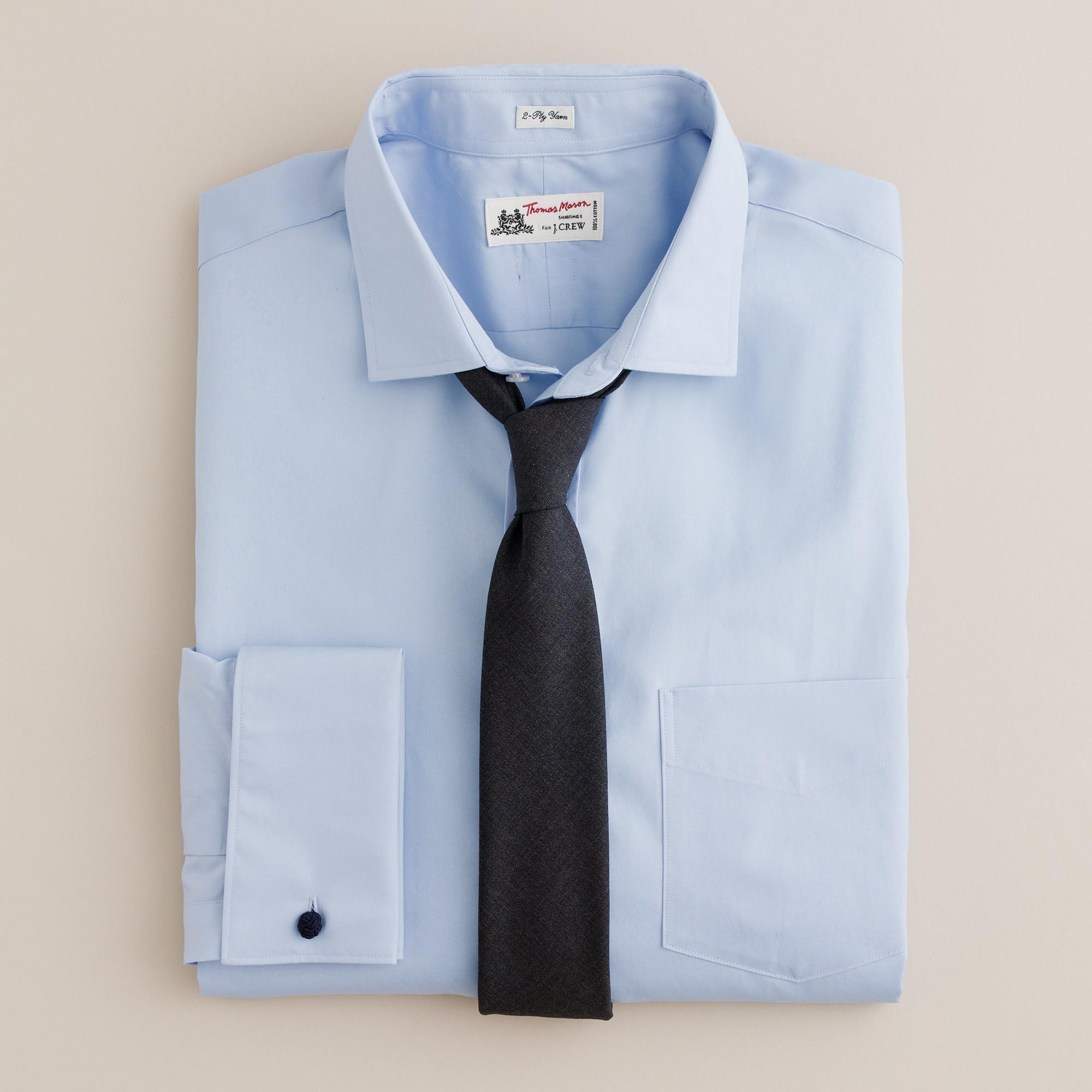 Thomas Mason Fabric French Cuff Dress Shirt In