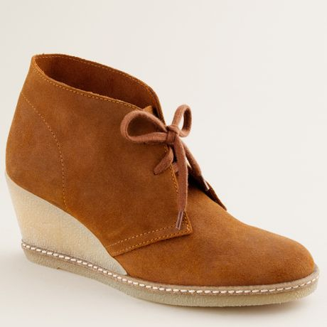 j crew macalister wedge boots in brown warm redwood lyst