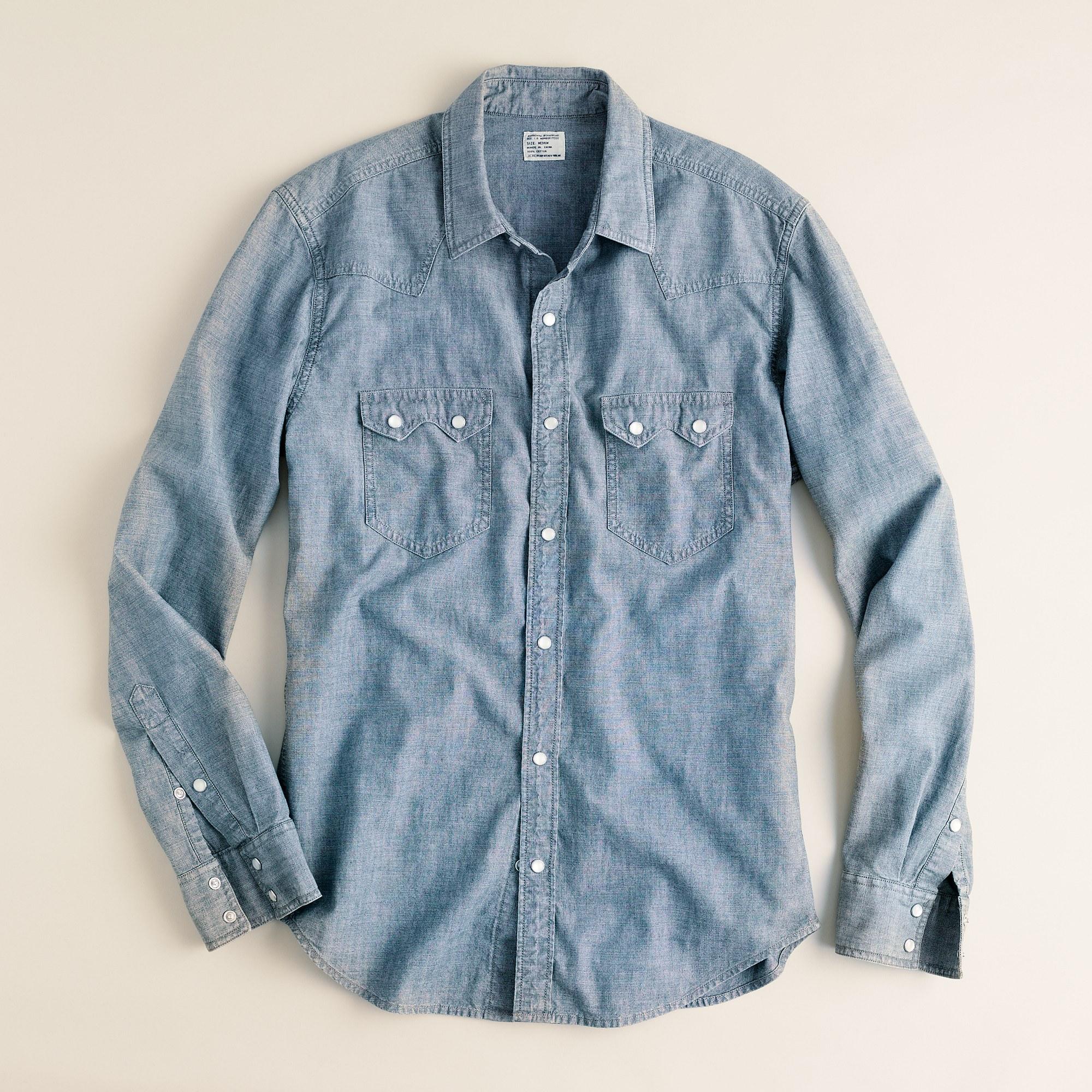 dd8215cc J.Crew Light Wash Denim Western Shirt in Blue for Men - Lyst