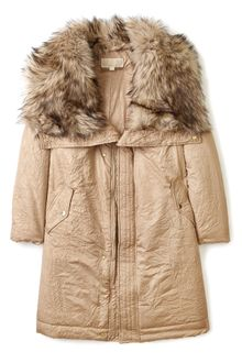Michael by Michael Kors Long Coat with Faux Fur Collar - Lyst
