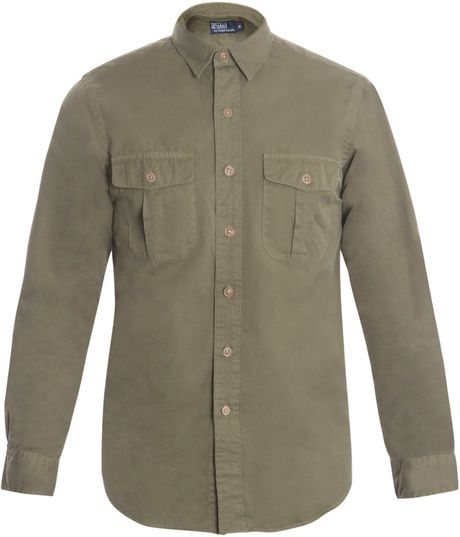 Polo ralph lauren washed two pocket shirt in khaki for men for Two pocket polo shirt