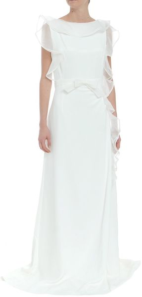 Valentino Long Dress with Belt and Lateral Frill Details in White - Lyst