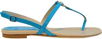 Versace Logo Patent Leather Thong Sandal - Lyst