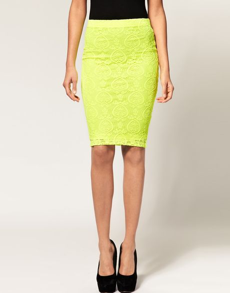 asos collection asos lace pencil skirt in neon in yellow