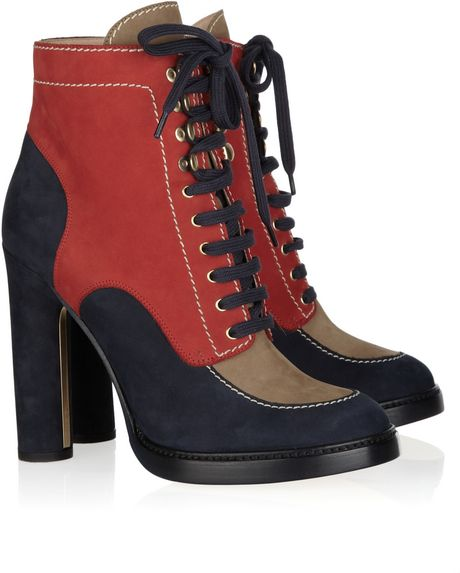 Bally Color-block Suede Ankle Boots in Blue (red)