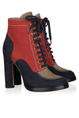 Bally Colorblock Suede Ankle Boots in Blue (red) - Lyst