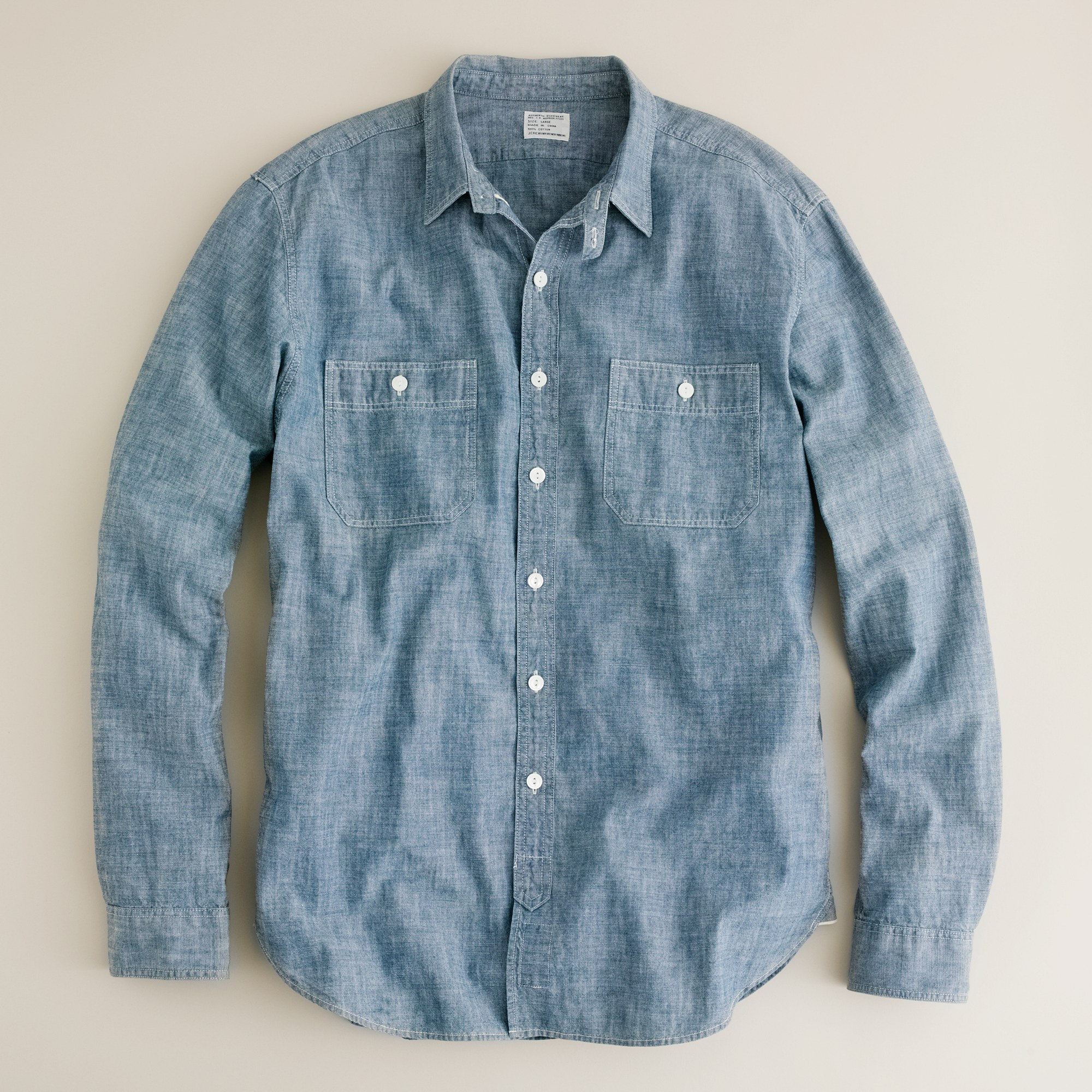 tall selvedge chambray utility shirt in blue for