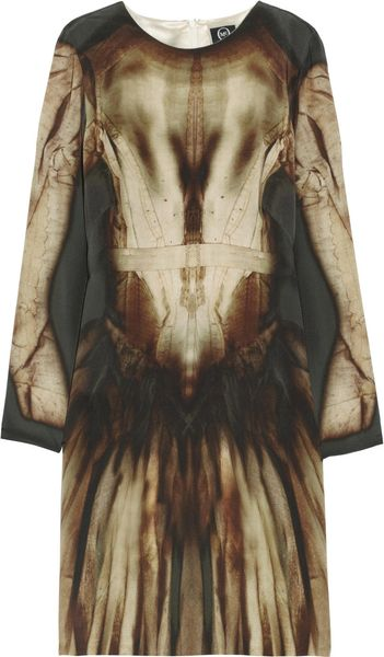 Mcq By Alexander Mcqueen Phantom Print Silk Dress in Brown (multicolored) - Lyst