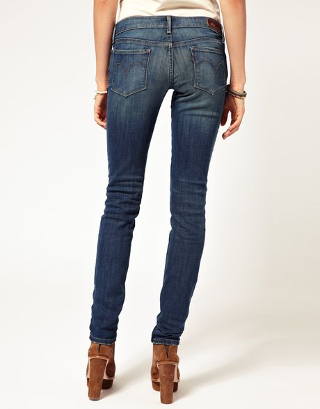levi 39 s curve id slight curve worn skinny jean in blue. Black Bedroom Furniture Sets. Home Design Ideas