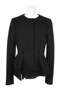 Proenza Schouler Wool and Elastane Waisted and Draped Black Jacket - Lyst