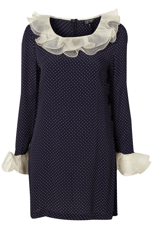 Topshop Organza Frill Polka Dot Dress In Blue Navy Blue