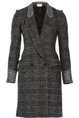 Yves Saint Laurent Wool-blend Tweed Longline Coat - Lyst