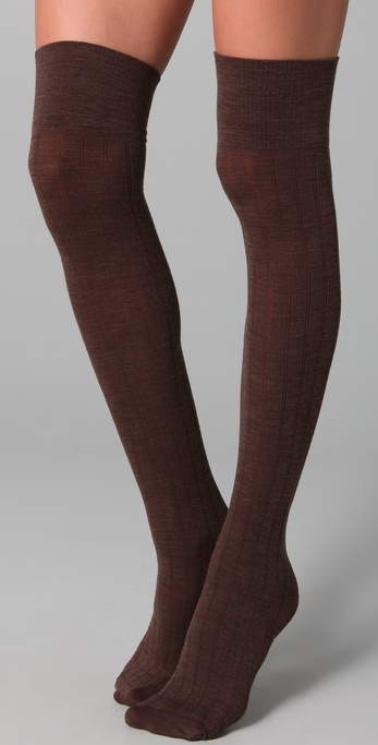 Lyst Club Monaco Wool Thigh High Socks In Brown