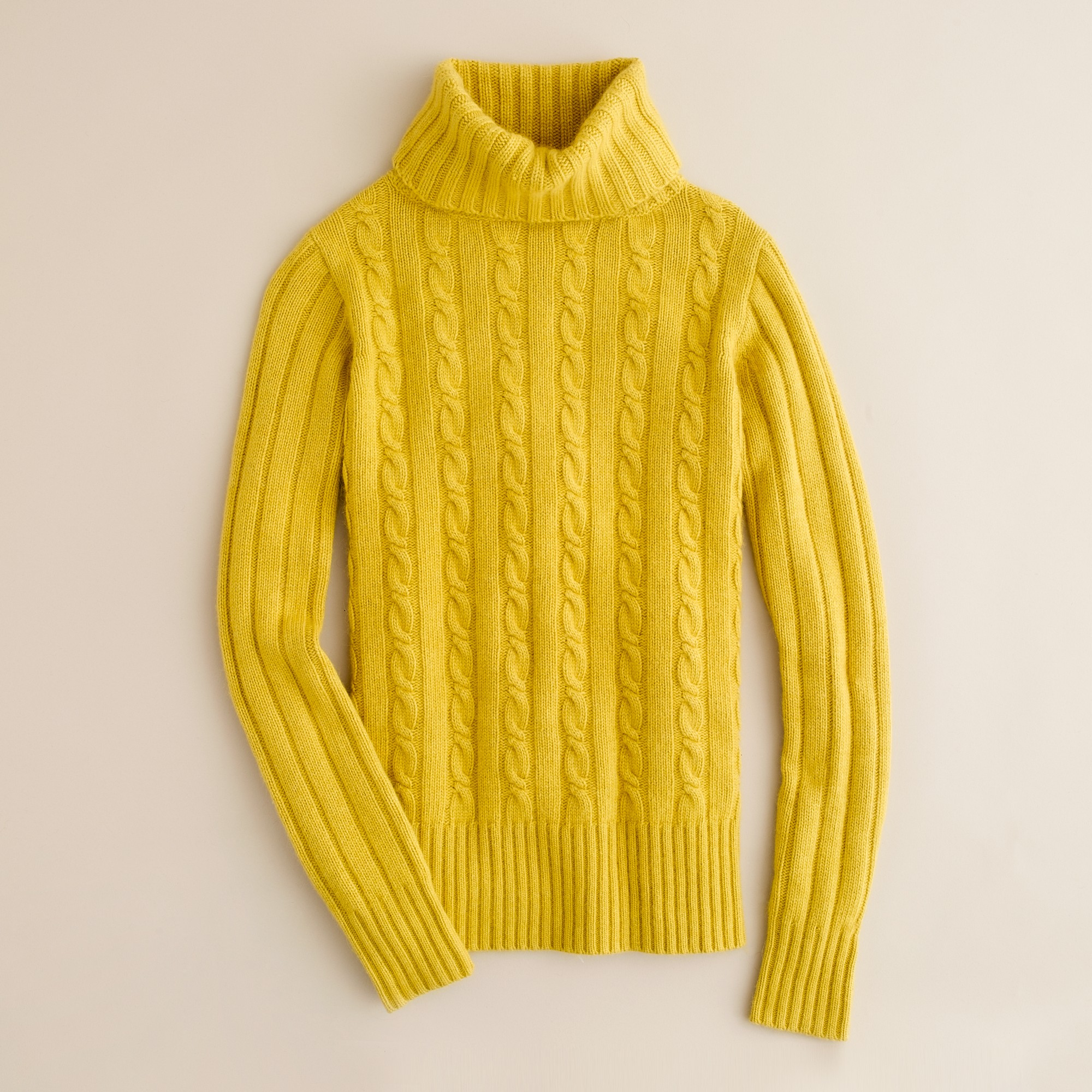J.crew Cambridge Cable Chunky Turtleneck Sweater in Yellow | Lyst