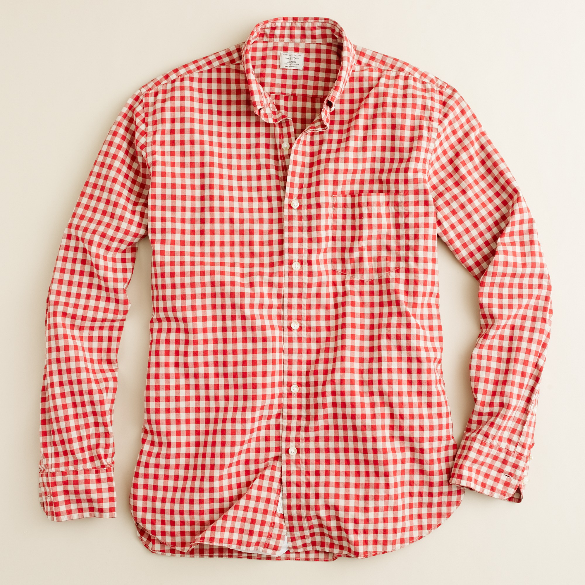 J.crew Secret Wash Button-down Shirt in Addison Gingham in Red for ...