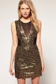 ASOS Collection Asos Sequin Mesh Dress in Bengaline - Lyst