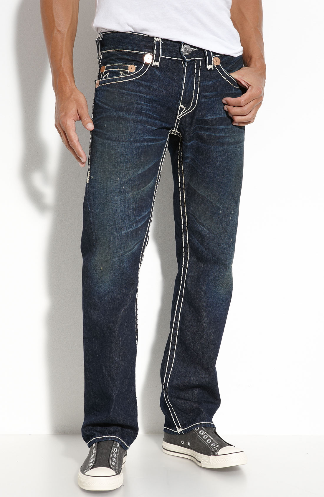 true religion bobby super t relaxed bootcut jeans in blue. Black Bedroom Furniture Sets. Home Design Ideas