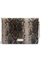 French Connection Secret Faux Leather Clutch in Beige (natural snake) - Lyst